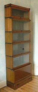 Antique Edwardian Oak 6 Section Globe Wernicke Stacking Barristers Bookcase