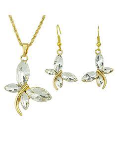 Costume Beautiful Imitation Crystal Butterfly Pendant Fashion Jewelry Set 7.59