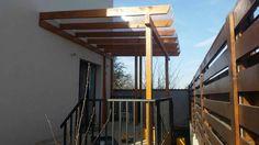 Pergola din lemn pentru intare locuinta, acoperita cu policarbonat. House Ideas, Construction, Outdoor Structures, Building