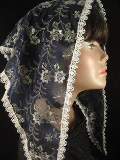 Silver and Navy Triangle Chapel Veil / Navy Floral Lace Mantilla / Traditional Catholic Headcovering