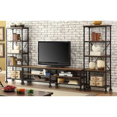 Keep the entertainment area free from clutter while watching your favorite shows. This industrial inspired entertainment unit is practical for placing your flat screen, electronics and decorations while adding a trendy, rustic visual.