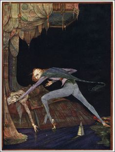 """Harry Clarke - Illustration for Tales of Mystery and Imagination by Edgar Allan Poe """"The Tell-Tale Heart"""" Frontispiece"""