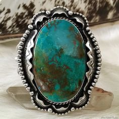Turquoise Swoon // Huge Handcrafted Silver Raven Cuff Bracelet featuring Rio Chico Turquoise // www.SilverRavenStudio.Etsy.com