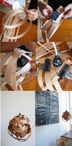 DIY Wood Lamp Wood Crafts, Diy And Crafts, Diy Wood, Small Furniture, Diy Furniture, Luminaria Diy, Diy Lampe, Wooden Lamp, Cool Lighting