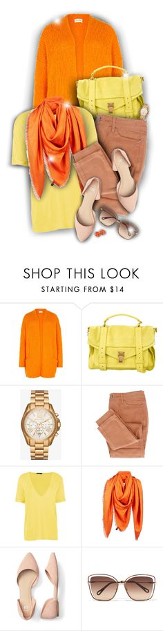 """""""Bright cardigan!"""" by asia-12 ❤ liked on Polyvore featuring American Vintage, Proenza Schouler, Michael Kors, Jimmy Choo, Chloé and Kenneth Jay Lane"""