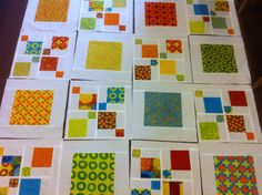 Looks like a framed block with scrambled Disappearing 9 patch. Outside center squares are the same color as the frames on the big squares Charm Pack Quilt Patterns, Charm Pack Quilts, Scrap Quilt Patterns, Lap Quilts, Scrappy Quilts, Quilt Blocks, Quilting Fabric, Quilting Projects, Quilting Designs