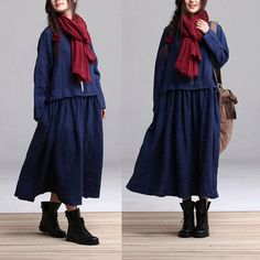 Loose Fitting Long Maxi Dress  Dress in blue Long by clothnew88, $82.99