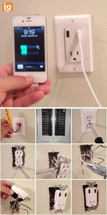 USB Wall Outlet, 10 minute project. I actually did this in our kitchen and have used it ever since.