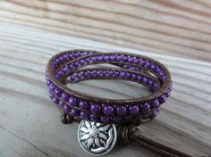 Purple Mountain Jade Triple Wrap Leather Beaded by GSJewelry