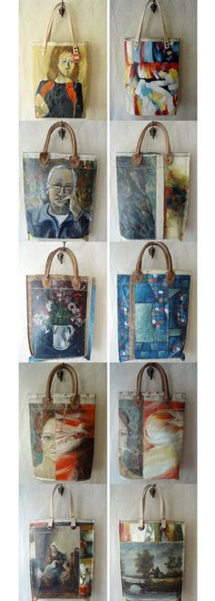 More totes and handbags made from old painted canvas and oil paintings.