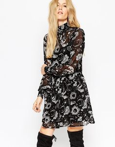 Image 1 of ASOS Swing Dress with High Neck in Moon and Stars Print