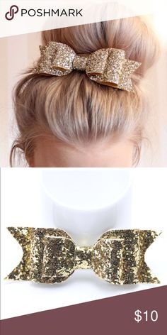 Glam Gold Glitter Bun Bow Dance Cheerleader Hair Glam gold glitter hair bow. Looks great when worn on a high bun. Boutique Accessories Hair Accessories