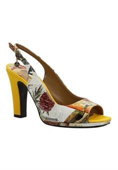 Factory Sale Womens J Renee Calador Open Toe Slingback Orange/Yellow/Cream Viaggio Print/Grosgrain Womens Orange/Yellow/Cream Viaggio Print/Grosgrain J Renee Womens J Renee
