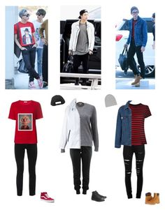 """""""Namjoon's outfits #1"""" by mochichimchim ❤ liked on Polyvore featuring Burberry, Lacoste, Converse, Yves Saint Laurent, AMIRI, Sans Souci, Isabel Marant, Timberland, Hot Topic and Cambio"""