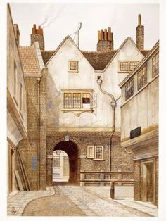 The watercolour depicts a view of Bleeding Heart Yard, Saffron Hill, Holborn. Dickens described it in Little Dorrit Chapter 13 on the south side of Charles Street, Hatton Garden. by James Lawson Stewart c. London History, British History, Old London, London Art, London Free Museums, London Drawing, Little Dorrit, British Architecture, Hatton Garden