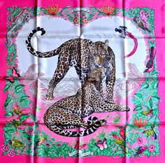 "100 Real Hermes Pink Jungle Love Special Limited Edition Silk Scarf 35"" 90cm NEW 