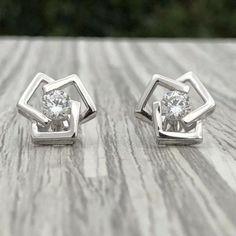White Solitaire Diamond Unisex Stud Earring Love Earring White Gold Over Diamond Solitaire Earrings, Diamond Studs, Diamond Pendant, Square Earrings, Stud Earrings, Fine Jewelry, Unique Jewelry, Jewellery, White Gold