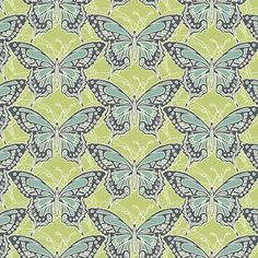 Makower Beth Studley Meadow 1281/G Butterfly Green fabric great for patchwork and quilting