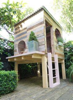 Create A Backyard Garden Playhouse Backyard Fort, Backyard Playhouse, Build A Playhouse, Backyard Playground, Backyard For Kids, Playhouse Ideas, Kids Outdoor Playhouses, Forts For Kids Outdoor, Simple Playhouse