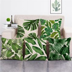 Cheap cushion cover, Buy Quality cover decoration directly from China cushion covers decorative Suppliers: ZXZXOON Tropical Plants Green Leaves Monstera Cushion Covers Hibiscus Flower Cushion Cover Decorative Beige Linen Pillow Case Green Pillow Cases, Throw Pillow Cases, Sofa Throw, Green Cushions, Cushions On Sofa, Decoration Design, Deco Design, Decorative Pillow Cases, Decorative Throw Pillows