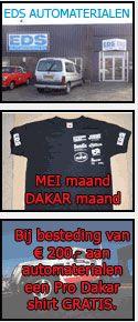 Animerende button verandert voor EDS Automaterialen uit Beilen. Bij besteding van € 200.- aan automaterialen een Pro Dakar shirt GRATIS. MEI maand, DAKAR maand! http://koopplein.nl/middendrenthe/auto-en-toebehoren