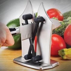 The Kitchen Knife Sharpener sharpens all your blunt knives in seconds, unlike an electric knife sharpener or sharpening steel that sharpens only a few different types of blades.