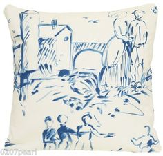 Cushion Pillow Cover Pierre Frey France Cotton Fabric Toile Gonesse Blue Beige
