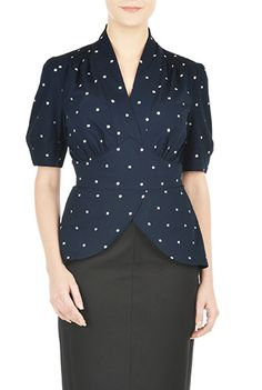 9c223ceaefb eShakti Womens Polka dot puffed sleeve peplum top  46.95 AT  vintagedancer.com Affordable Clothes