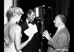 Alfred Hitchcock, Cary Grant, and Grace Kelly on the set of To Catch a Thief (1955)