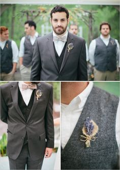 rustic lavender boutonniere - like the personal touch to something so simple