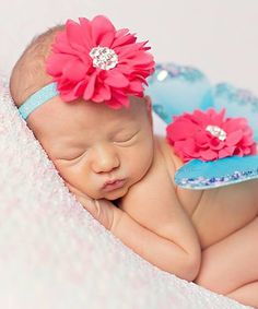 The Tiny Blessings Boutique Hot Pink & Turquoise Flower Headband & Wing Set by The Tiny Blessings Boutique #zulily #zulilyfinds