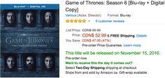Amazon Canada Black Friday Todays Deals: Save 47% On Game of Thrones: Season 6 BLACKDECKER 6 Slice Convection... http://www.lavahotdeals.com/ca/cheap/amazon-canada-black-friday-todays-deals-save-47/134649