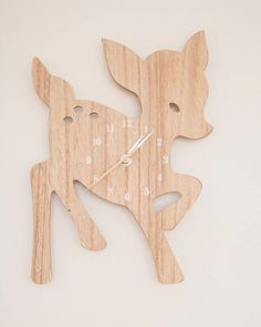 Wooden Deer Clock - super-sweet touch to a woodland nursery!