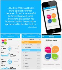 """"""" The free Withings Health Mate app last summer, because I found it very useful to have integrated some interesting data about my body and health that no other app seemed to be able to do. Fysio-Instituut.nl , fysiotherapie Arnhem"""