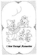 Vintage Baby Nursery Crib Quilt Embroidery Pattern Vogart Cat Dog + Crayons