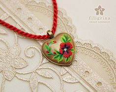 RED POPPY heart pendant floral motif in brass tone by Filigrina