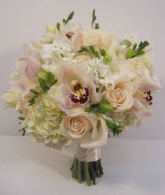 dahlia wedding bouquets   ... and ivory rose, hydrangea and cymbidium orchid bridal party bouquet