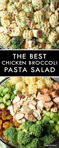 Seasoned chicken broccoli golden raisins celery and a wonderful creamy dressing come together to make this awesome Chicken Broccoli Pasta Salad. A total crowd pleaser perfect for summer gatherings or all year long! Broccoli Pasta Salads, Chicken Broccoli Pasta, Salad With Chicken, Pasta Recipes, Chicken Recipes, Cooking Recipes, Healthy Recipes, Crowd Recipes, Cooking Ribs