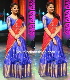 Anchor Anasuya in Kanchi Pattu Half Saree – South India Fashion Lehenga Saree Design, Half Saree Lehenga, Pattu Saree Blouse Designs, Half Saree Designs, Fancy Blouse Designs, Lehenga Designs, Saree Dress, Banarasi Lehenga, Kids Lehenga