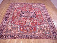 "Persian: Geometric 12' 0"" x 9' 5"" Antique Serapi at Persian Gallery New York - Antique Decorative Carpets & Period Tapestries"