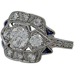 Art Deco .55 Carat Diamond Sapphire Platinum Engagement Ring