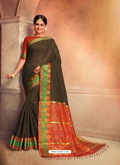 Latest Design Jacquard Work Cotton Silk Saree In Dark Green Work Sarees, Party Wear Sarees, Indian Ethnic Wear, Blouse Online, Festival Wear, Indian Designer Wear, Saree Collection, Cotton Silk, Sari