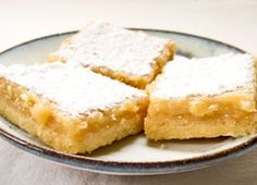Vegan Lemon Bars  Crust Ingredients:  1/2 cup non-hydrogenated, non-dairy butter, at room temperature 1/4 cup confectioners' sugar 1 cup unbleached all-purpose flour Filling Ingredients:  1/2 cup silken tofu (soft or firm) 1 cup granulated sugar Zest from 2 lemons 1/3 cup fresh lemon juice (2 to 3 lemons) 2 Tbsp unbleached all-purpose flour 2 tablespoons cornstarch Confectioners' sugar, sifted