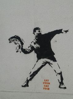 #Graffiti by #Banksy: Let them eat #fish.
