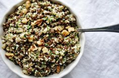 Lentil and Bulgur Salad (good whole grains with herbs, red onion, and feta cheese--and walnut halves for garnish. Yum!)