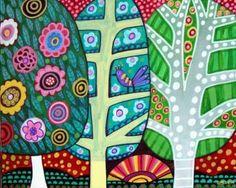Landscape Art - Birch Trees - FOLK ART TREES print poster of painting (Hg567)