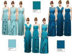 Light to dark teal dresses