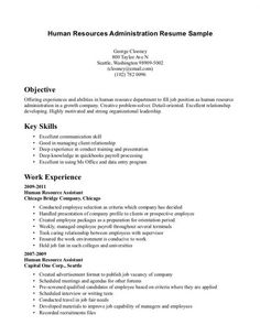 Human Resources Assistant Resume Sample Human Resources Generalist Resume Sample  Work  Pinterest