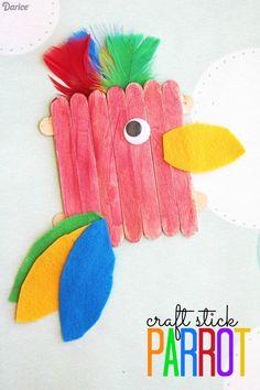 Craft Stick Parrot - Kid Craft