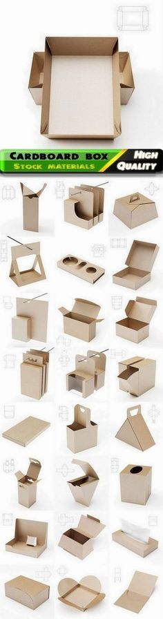 Cardboard box and paper package with drawing for cutting - 25 Jpg